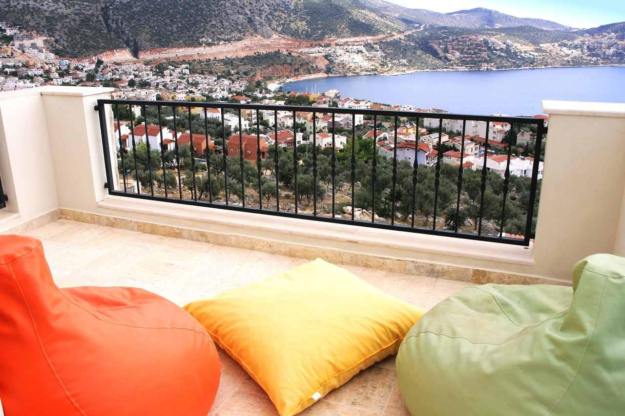 Sea view balcony with bean bags
