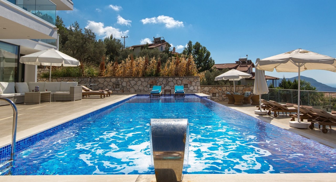 Large Pool And Water Feature