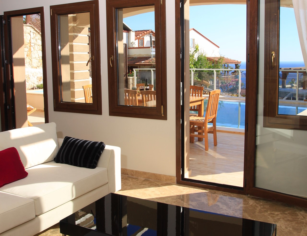 Lounge with doors to the pool terrace