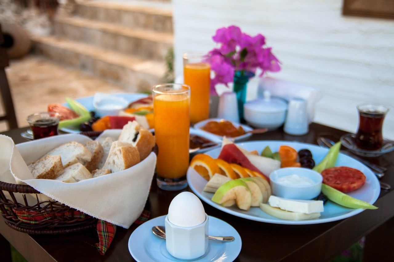 Turkish breakfast served outside your room