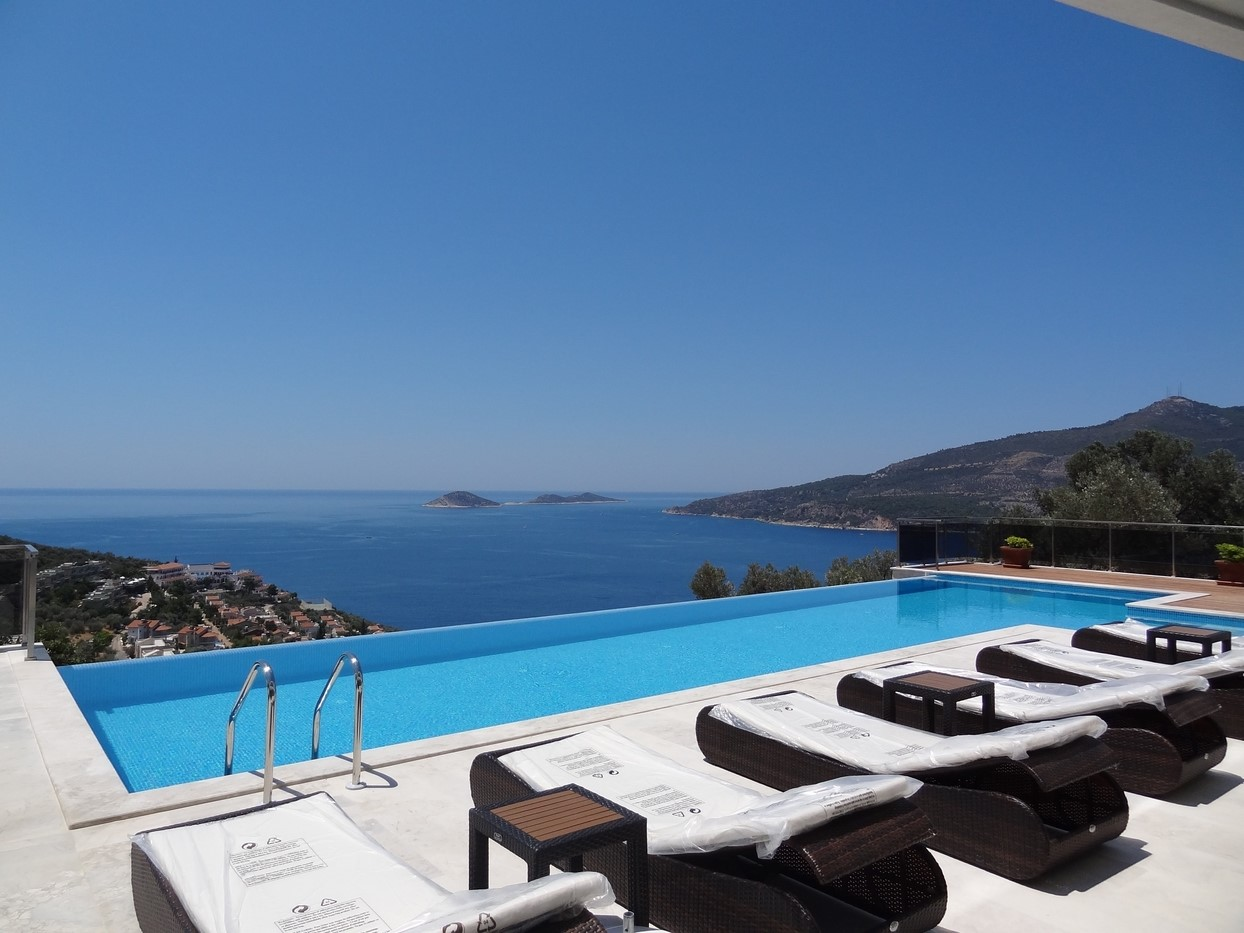 Views from the swimming pool terrace over Kalamar Bay