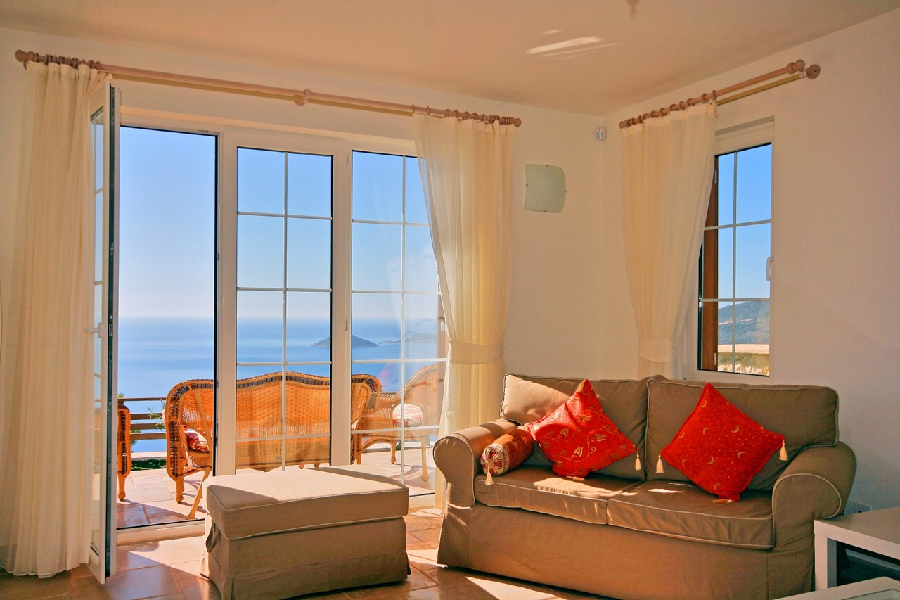 Lounge area with sea views
