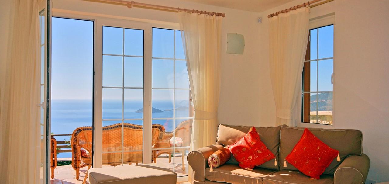 Lounge area with sea views
