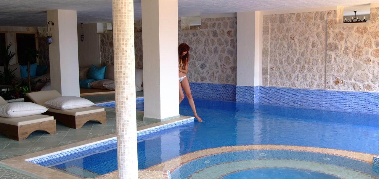 Indoor swimming pool at the Likya Hotel in Kalkan