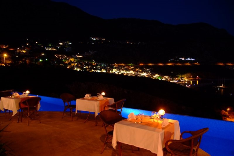 Outdoor dining terrace at The Likya Hotel