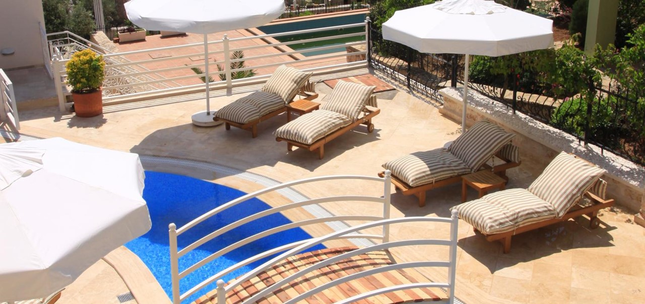 View of pool terrace from balcony