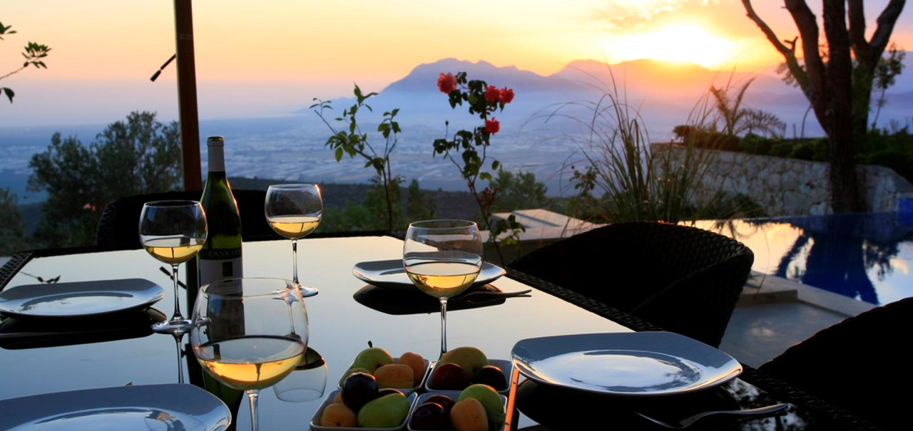 Dine on the terrace as you watch the sun set