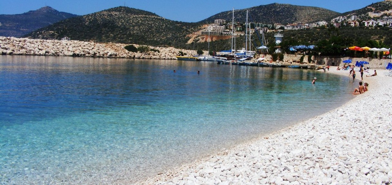 Kalkan beach with blug flag award for cleanliness