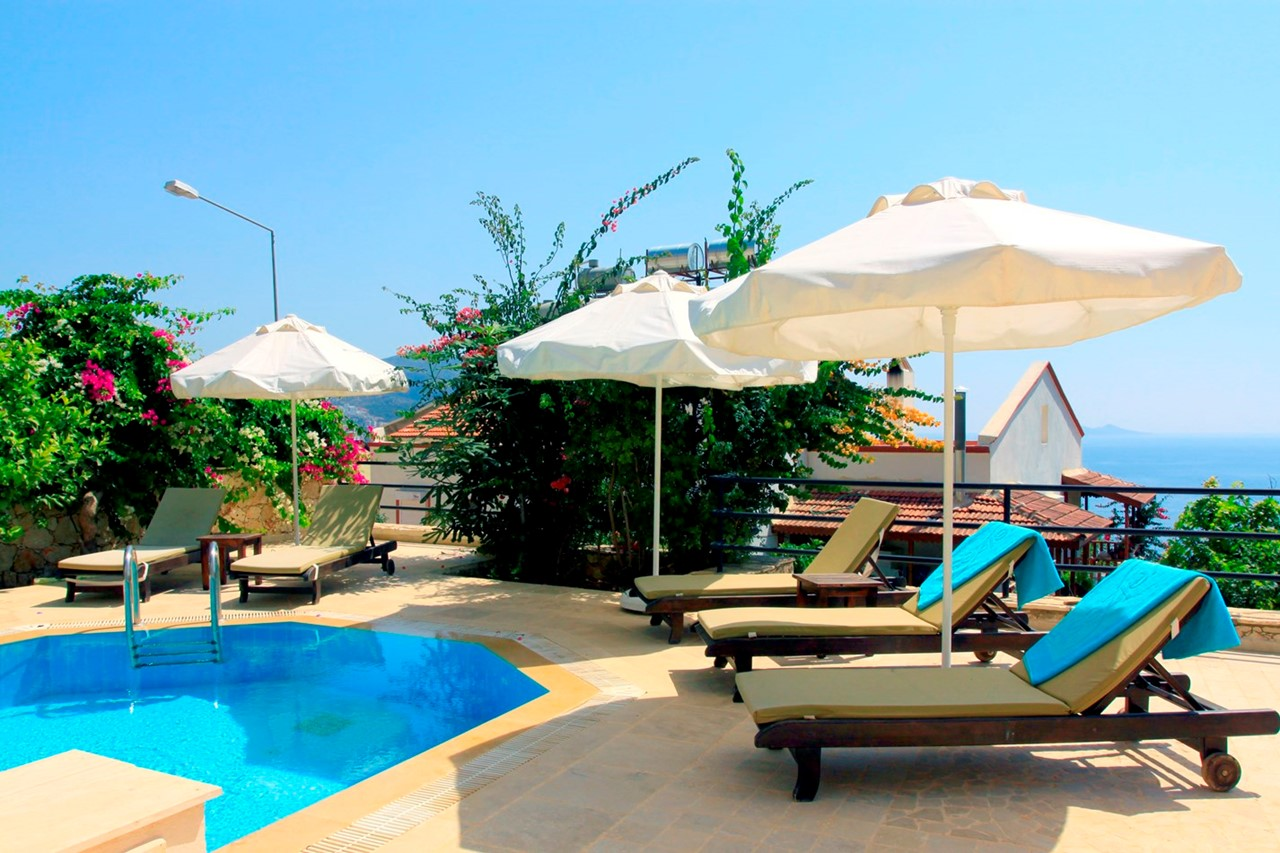 sunbeds by the pool