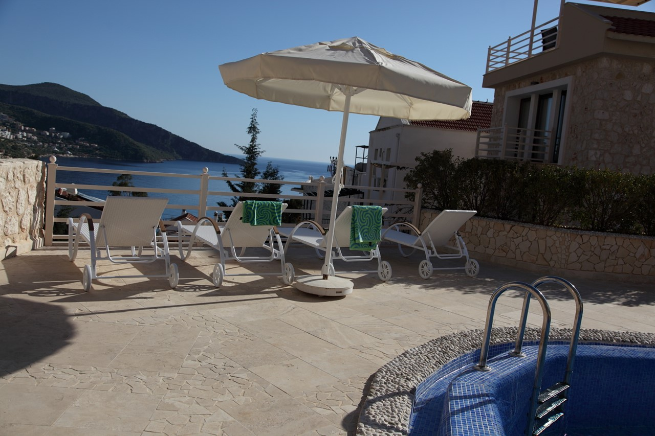 Poolside terrace at the Kalkan Old Town apartments