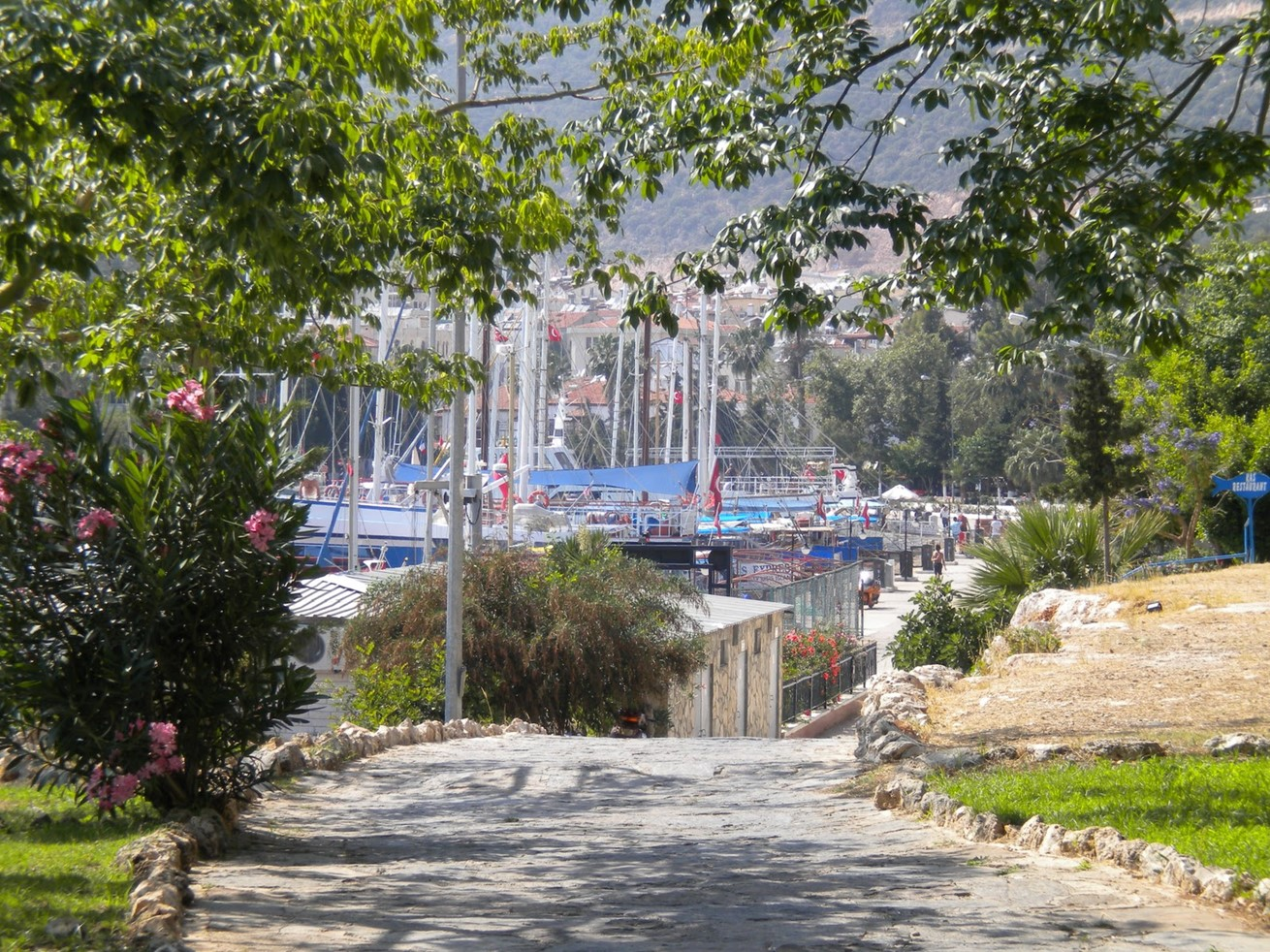 Kas harbour with boats and gulets