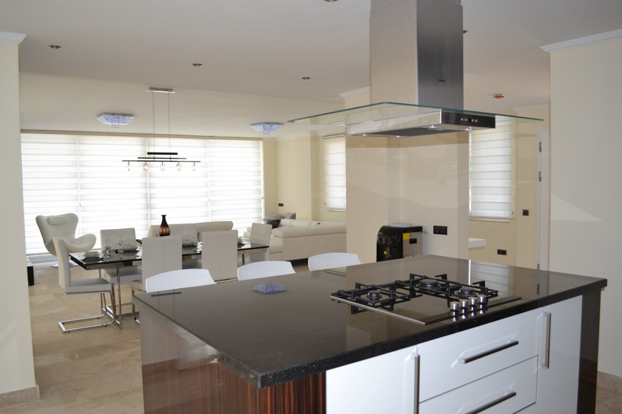 Contemporary open plan living area, kitchen and dining area