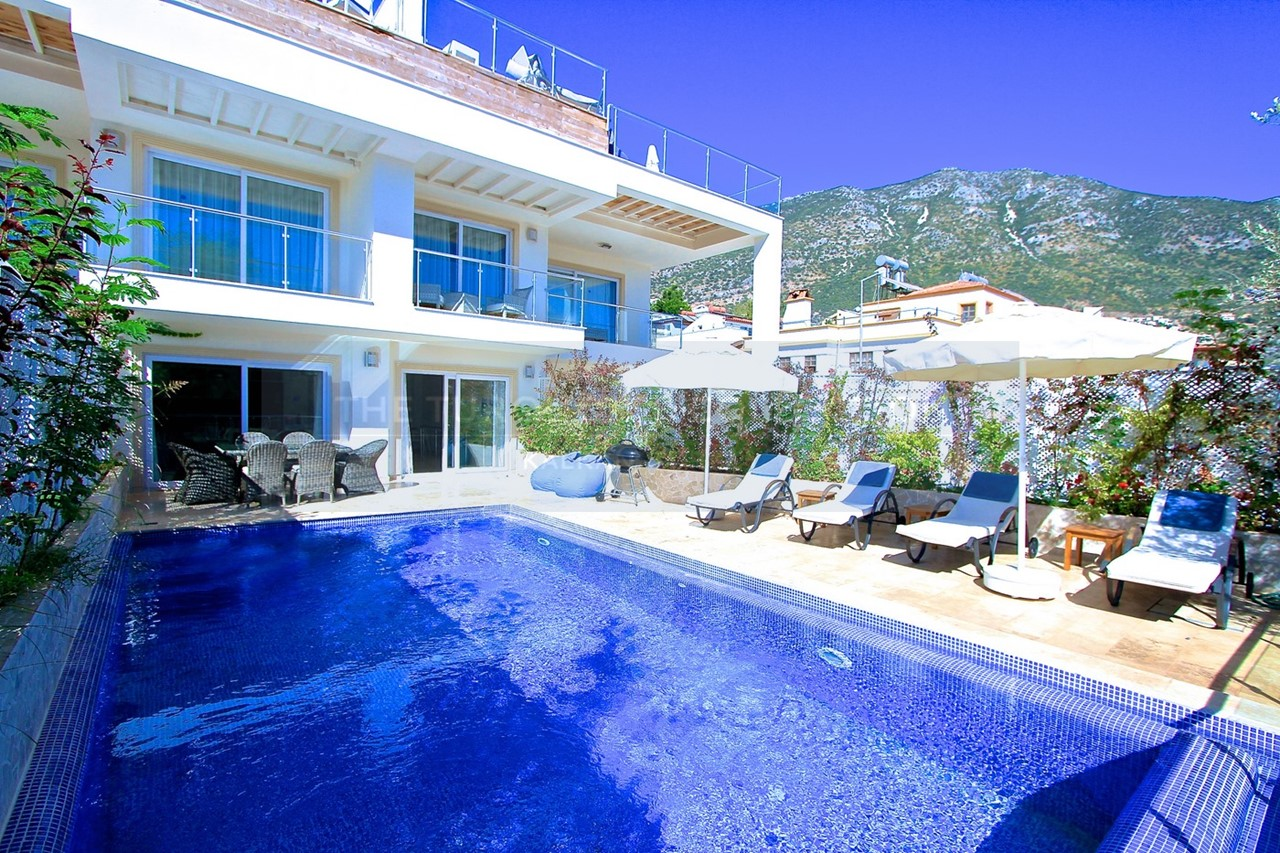 A large private pool and furnished terrace
