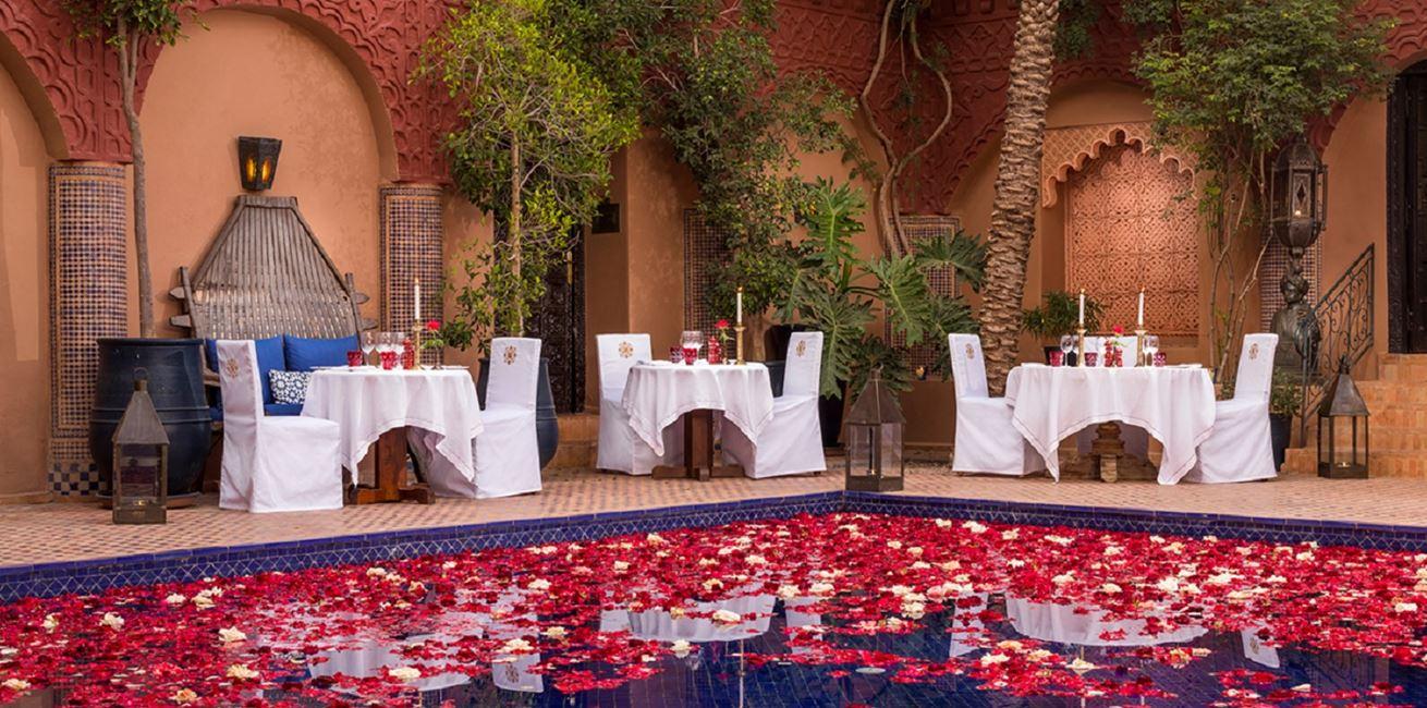 Reflecting Pool Dining Kasbah Tamadot