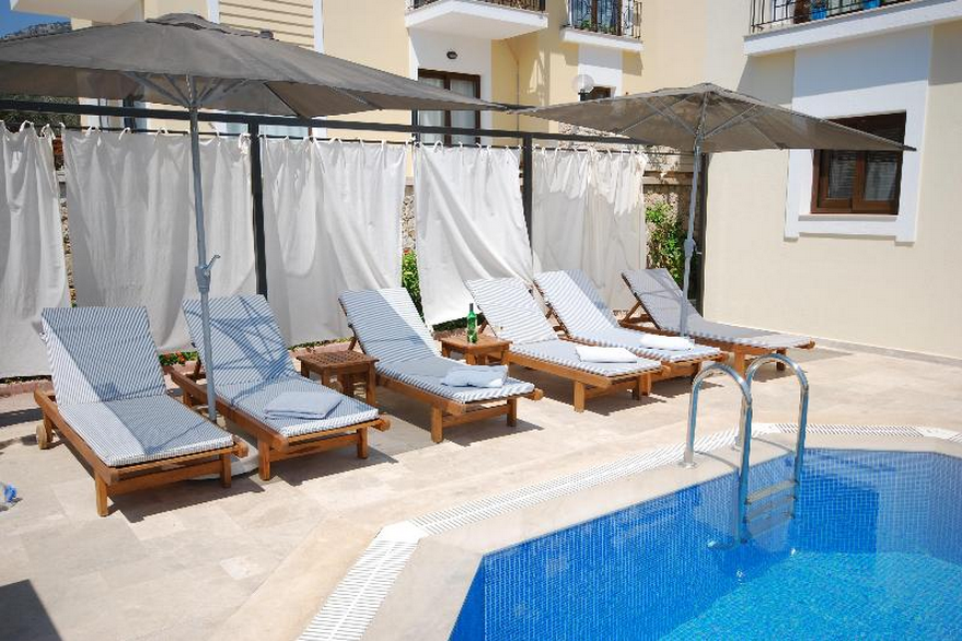 Cushioned Sunloungers At Villa Verbena Kalkan