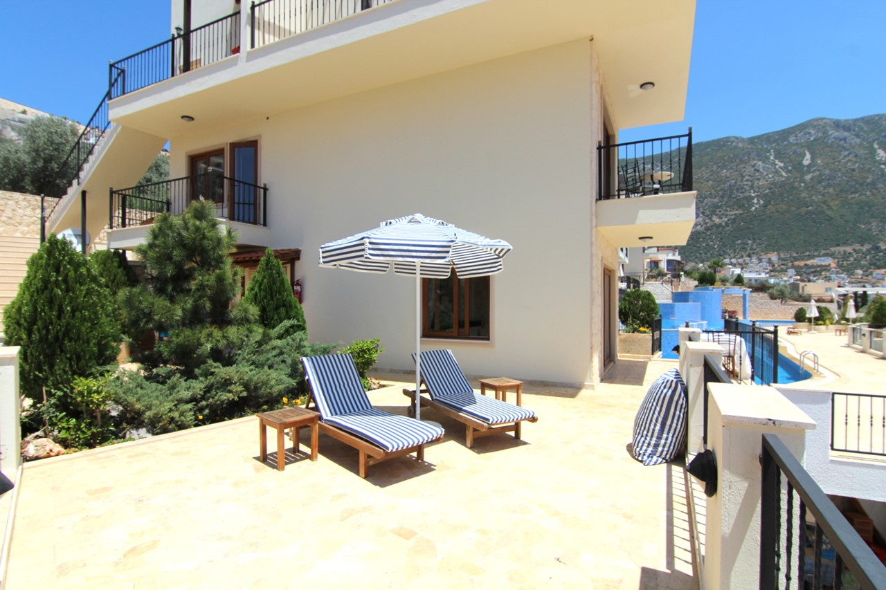 Large private terrace with steps into main pool